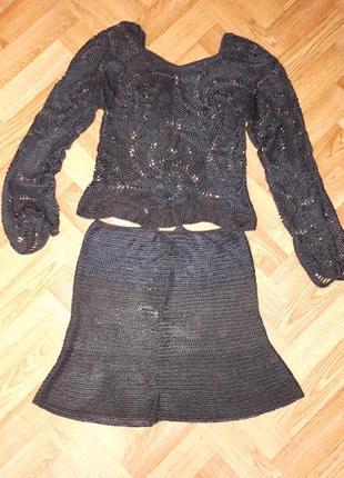 Ажурная кофта и юбка,вязанный комплект