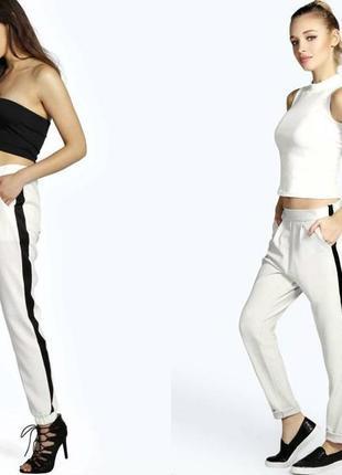 Белые брюки с лампасами zara