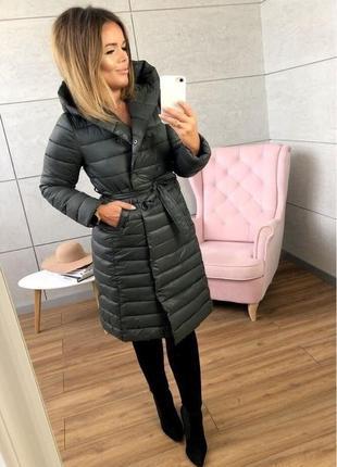 Новинка 2019 пальто gracias grey удлиненное под пояс стеганное силикон 200 с капюшоном