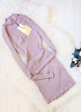 Лиловое платье в рубчик с чокером от missguided