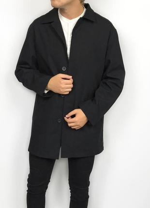 Burton menswear london black coat плащ