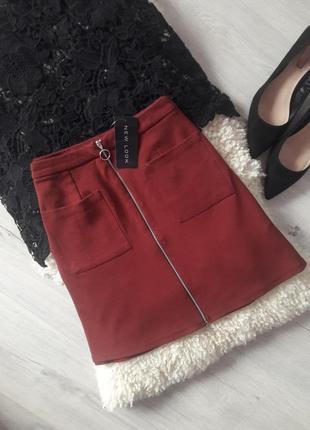 Юбка на молнии цвет марсала new look/ мини юбка на молнии