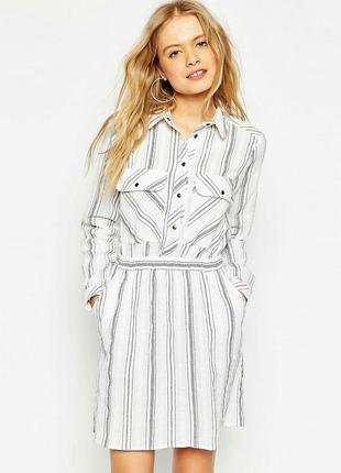 Платье-рубашка в полоску asos