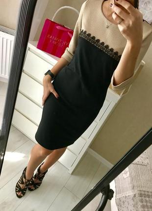 Шикарное платье чёрное с бежевым