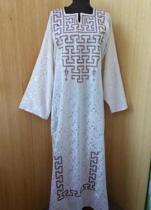 Длинное белое платье с вышивкой цветочный принт в этно стиле / абая l/xl