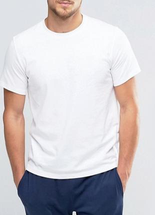 Белая базовая мужская футболка 100% коттон