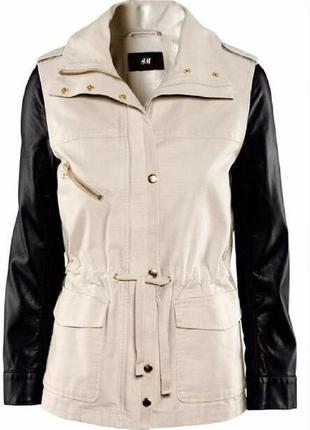 b7eeb24745c5 Куртка h m демисезонная курточка ветровка олимпийка кожанка косуха с  кожаными рукавами