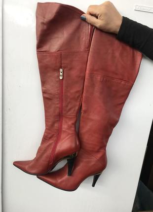 Кожаные сапоги сапоги кожаные осень зима ботфорты