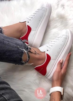 Шикарные женские кроссовки alexander mcqueen red