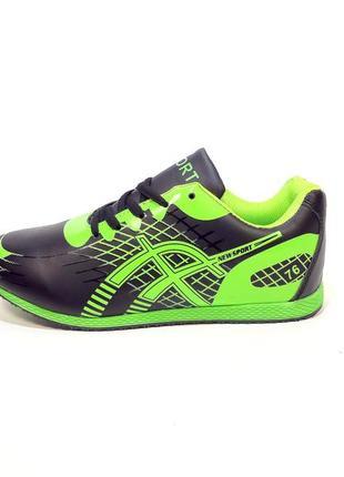 Кроссовки женские, черные с салатовым, для бега и спорта. размер 35-41.