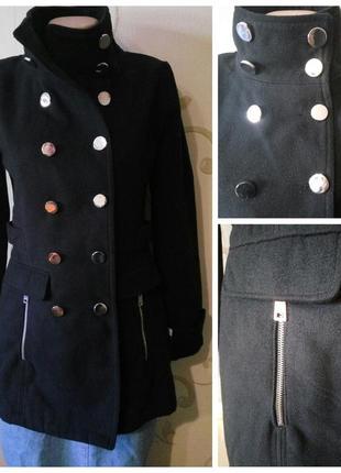 Alcott . солидный черный тренч коут полупальто пальто . размер s