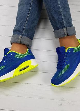 5eded54c ... Крутые кроссовки яркие неоновые аирмаксы синие с желтыми вставками все  размеры акция5