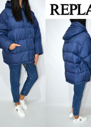 Пуховик одеяло куртка зефирка оверсайз oversize бойфренд натуральный пух replay.