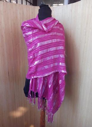 Яркий розовый шарф / шаль с люрексом2