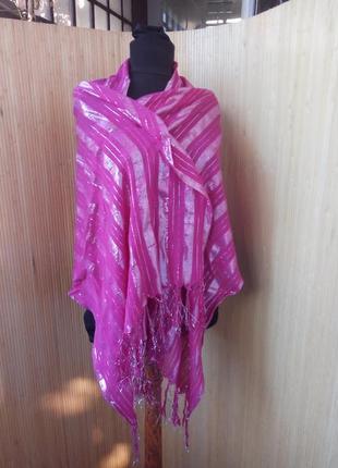 Яркий розовый шарф / шаль с люрексом3