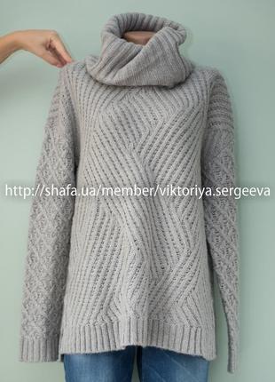 Большой выбор свитеров - новый с биркой теплый серый свитер с хомутом