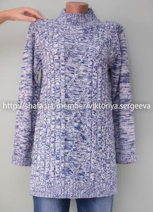 Большой выбор свитеров - теплый красивый удлиненный свитер с воротником стойка