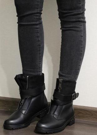 Красивые и теплые женские черные зимние ботинки (полусапоги)