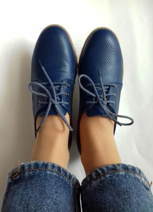 Туфли оксфорды на шнурках на танкетке