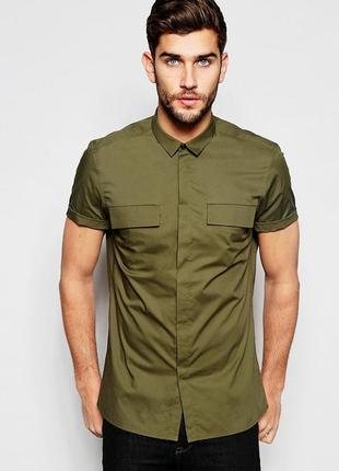 Asos рубашка с короткими рукавами милитари хаки, s