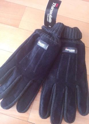 Тёплые перчатки из натуральной замши thinsulate