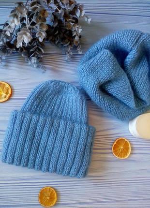 Комплект набор снуд шапка шапочка с отворотом подворотом hand made
