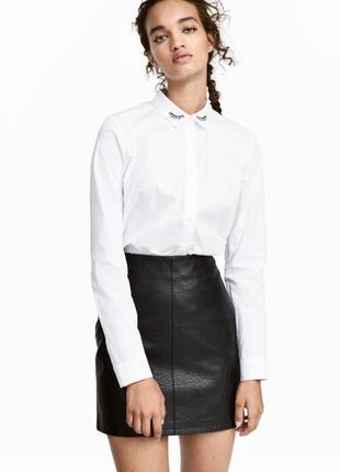 Актуальная юбка- трапеция из экокожи new look