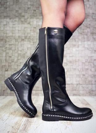 Сапоги деми демисезонные чёрные кожаные ботинки