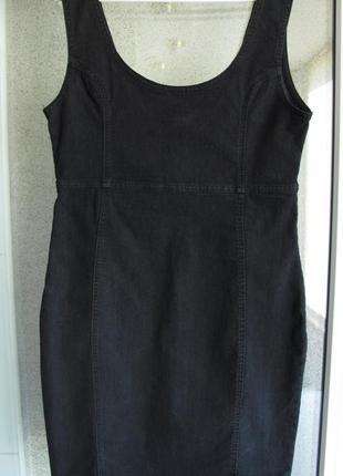 Стильный черный джинсовый сарафан от бренда denim co
