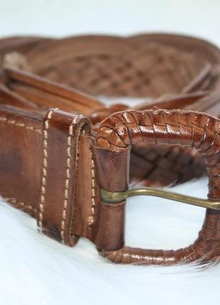 Ремень кожаный коричневый рыжий плетеный натуральная кожа 100% monsoon (к032)