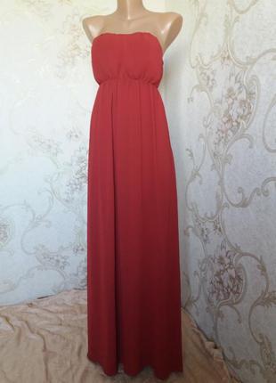 Вечернее платье в пол  цвета бордо от only