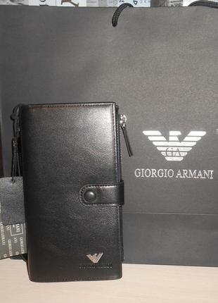 Мужской кошелек клатч барсетка armani, кожа, италия 61600