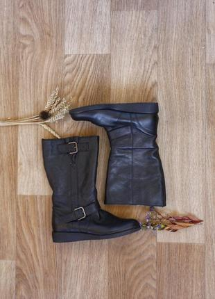 Кожаные сапоги евро-зима