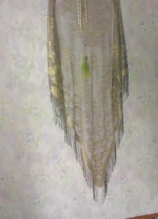 Шаль платок ажурный с люрексом 150х150х165 см япония 80-е