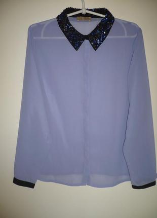 Блуза шифоновая с оригинальным воротником