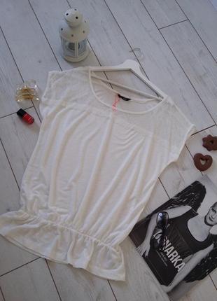 Ellen amber базовая  нежная мягчайшая футболка с кружевом