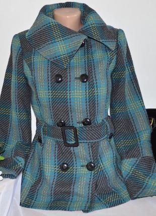 Брендовое демисезонное пальто полупальто с поясом star by julien macdonald румыния