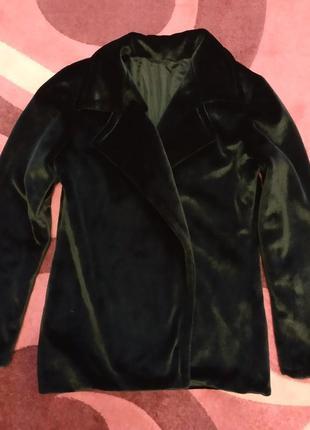 Плюшевое пальто,б/у, размер l.