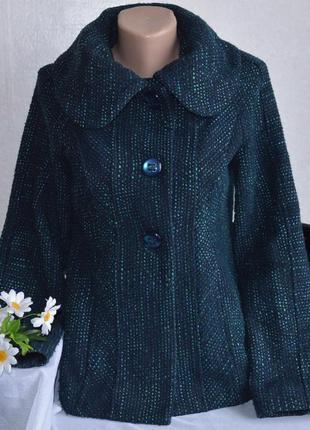 Брендовое зеленое шерстяное демисезонное пальто полупальто с карманами per una турция