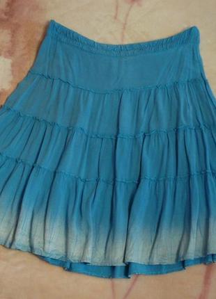 Летняя голубая юбка-солнцеклеш
