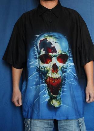 Мужская гавайская рубашка принт череп, бренд urban spirit, размер xl