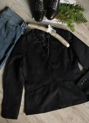 Черный качественный пиджак h&m 42р.лен жакет