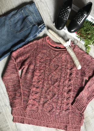 Теплый свитер крупная вязка косичка меланж 42р