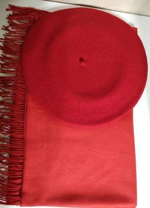 Комплект чешский фетровый берет tonak fezko и палантин в тон красный