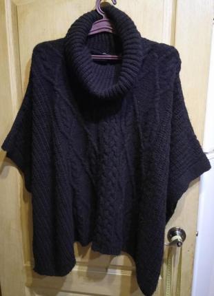 Удобный свитер накидка пончо