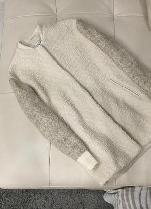 Шерстяное кремовое пальто pull&bear, s скидка 5 дней!