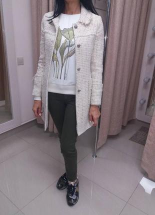 Стильное пальто,удлиненный пиджак,твидовый пиджак пальто