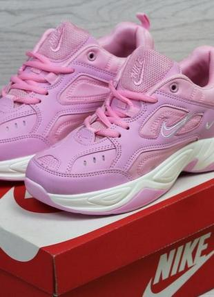 Модные женские кроссовки nike m2k tekno розового цвета (код 10)
