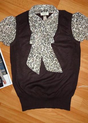 Актуальный вискозный джемпер с леопардовым принтом  размер 12 (44-46)