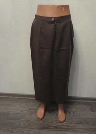 Юбка длинная карандаш, классическая коричневая